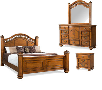 Everette Warm Oak Poster Bed 6-PC Bedroom Set