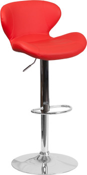 Archie Red Swivel Barstool