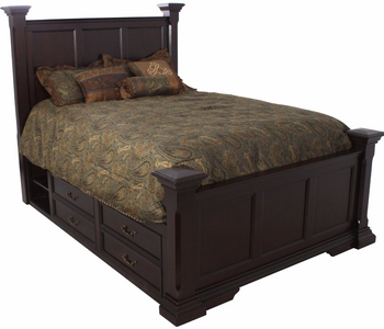 Fabian Dark Brown Platform Poster Storage Bed