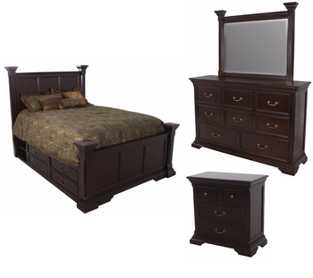 Fabian Dark Brown Platform Poster Storage 6-PC Bedroom Set