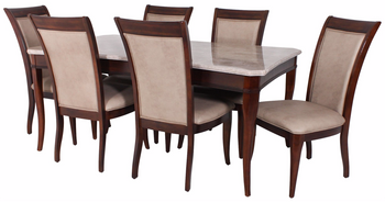 Chantel 7-PC Real Marble Dining Set