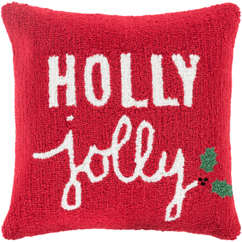 Designer Red Holly Jolly Pillow