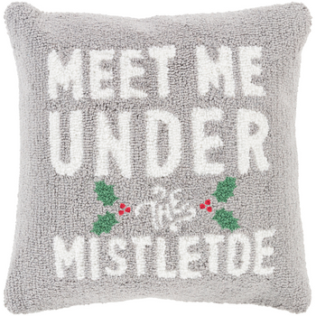 Designer Mistletoe Gray Pillow