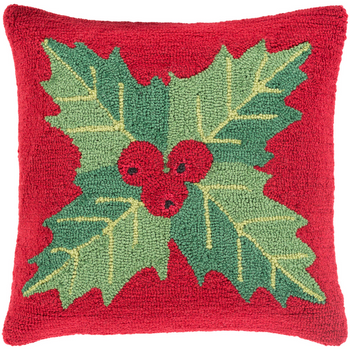 Designer Mistletoe Red Pillow