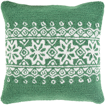 Designer Snowflake Green Pillow
