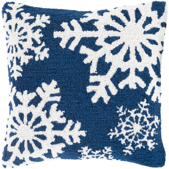 Designer Snowflakes Blue Pillow