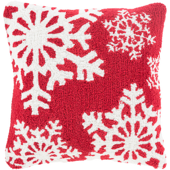 Designer Snowflakes Red Pillow