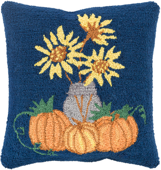 Designer Pumpkins Blue Pillow