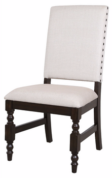 Alley Neutral Fabric Side Chair With Nailheads