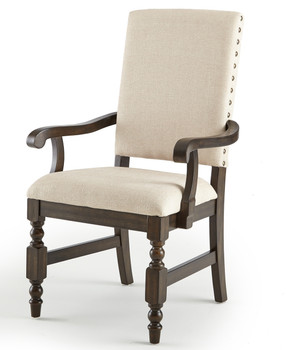 Alley Neutral Fabric Arm Chair With Nailheads