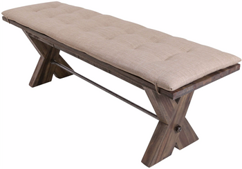 Rutherford Distressed Grey Dining Bench With Cushion