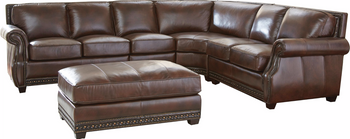 Cadmar Brown 100% Leather Oversized Sectional & Ottoman