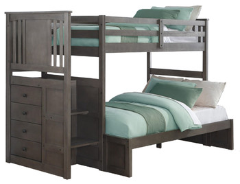 Perry Grey Twin/Full  Stairway Bunkbed With Built-In Chest
