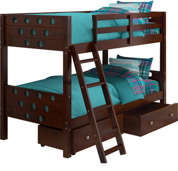 Bridgette Circular Cappuccino Twin/Twin Bunkbed With Underbed Drawers