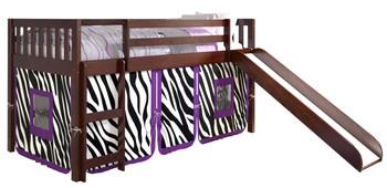 Benton Cappuccino Twin Loft With Slide & Zebra Tent