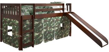 Benton Cappuccino Twin Loft With Slide & Camo Tent