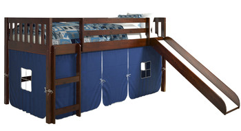 Benton Cappuccino Twin Loft With Slide & Blue Tent