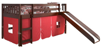 Benton Cappuccino Twin Loft With Slide & Red Tent