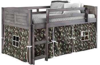 Canty Aged Grey Twin Loft Bed With Camo Tent
