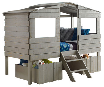 Bess Rustic Grey Tree House Loft Bed With Drawers