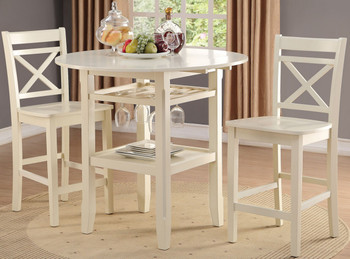 Cadmus White 3 Pc Counter Height Set