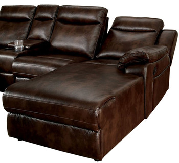 Bison Brown Leatherette Sectional With Console