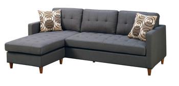 Fabio Blue/Grey Fabric Reversible Sectional