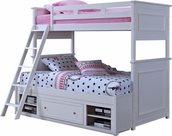 Angel White Twin/Full Bunkbed With Drawer & Shelves