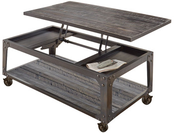 Hunter Dark Brown Lift-Top Coffee Table With Casters