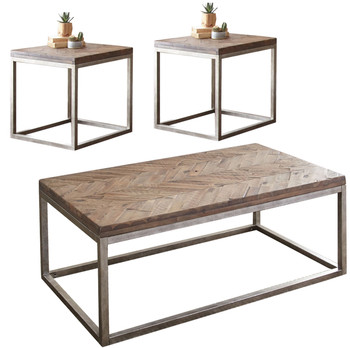 Kaine 3-PC Distressed Natural Honey Occasional Set