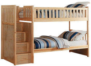 Don Wilson Natural Pine Twin Over Twin Stairway Bunkbed