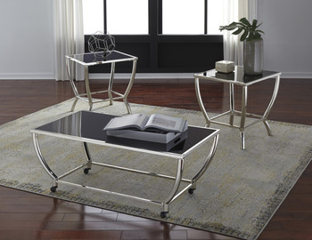 Cagney Metallic Chrome 3-PC End Tables