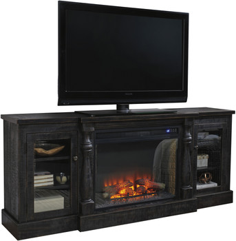 Manila Vintage Black TV Stand With Large Fireplace