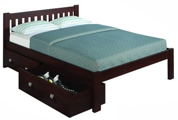 Ken Brown Platform Full Bed with Under Bed Drawers