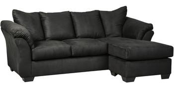 Edeline Black Plush Sofa Chaise