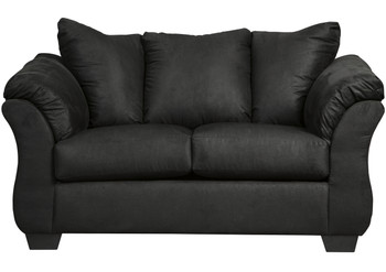 Edeline Black Plush Loveseat