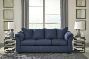 Edeline Royal Blue Plush Sofa