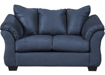 Edeline Royal Blue Plush Loveseat