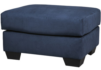 Edeline Royal Blue Plush Ottoman