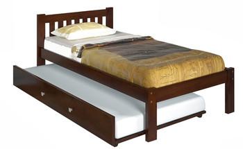 Ken Brown Platform Twin Bed With Underbed Trundle