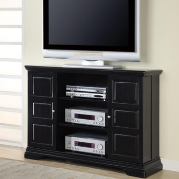 Black TV Console with Hidden Media Storage