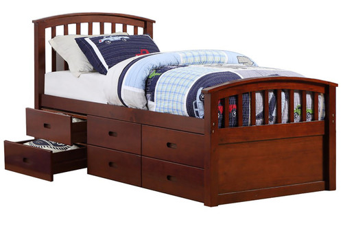 Marlowe Dark Cappuccino Twin 6-Drawer Captains Bed