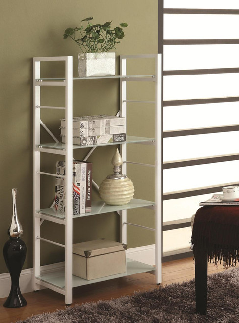 Olivia White Bookshelf 4 shelves