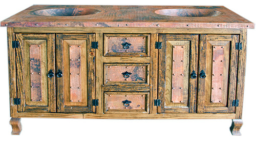 """Copper 60"""" Vanity Double Sink With Drawers"""