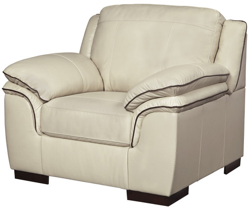 Damon Cream Top-Grain Leather Arm Chair