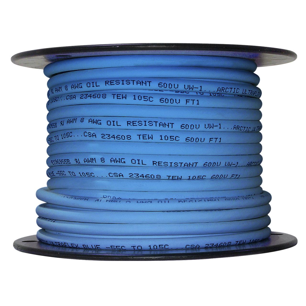 ARCTIC ULTRAFLEX 8GA BLU 100 FOOT ROLL - Polar Wire Products