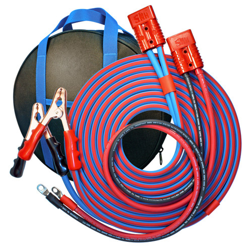 30' Cold Weather Heavy Duty Jumper Cable Clamp to Harness 2 Gauge Booster System