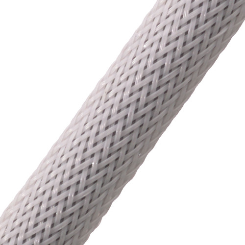 "BRAIDED SLEEVE 3/8"" 30' WHITE EXPANDS 3/16""-5/8"""