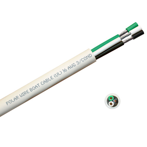 BOAT CABLE ROUND 16/3 BLACK/WHITE/GREEN 100FT