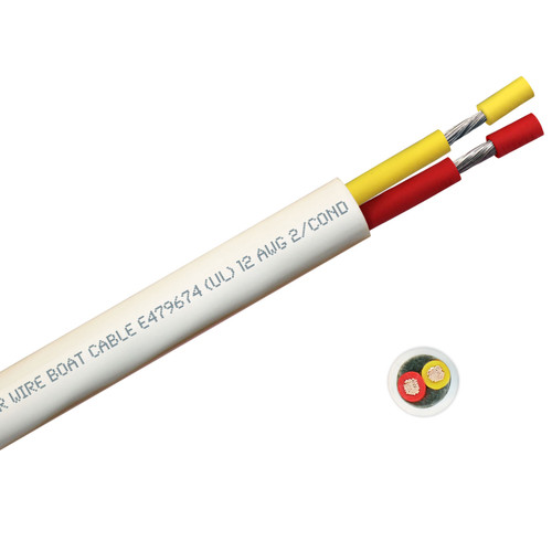 BOAT CABLE ROUND 12/2 YELLOW/RED 100FT ROLL